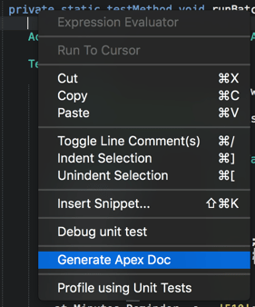 ApexDoc from the context menu