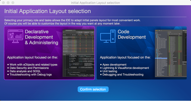 Select the IDE layout