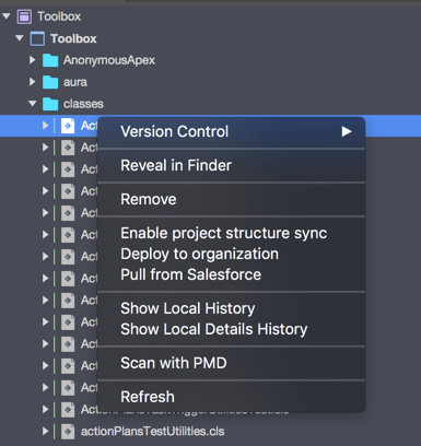 The context menu of a file
