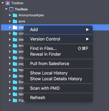 The context menu of a folder