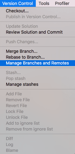 Manage Branches and Remotes from the Main Menu