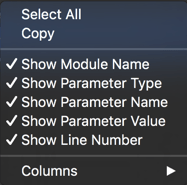 Context menu of the Call Stack panel