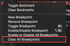 Deleting all the breakpoints from the context menu in the editor