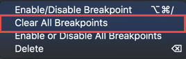 Deleting all the breakpoints from the context menu in the panel