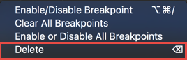 Deleting the breakpoint from the context menu in the panel