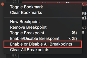 Disabling all the breakpoints from the context menu