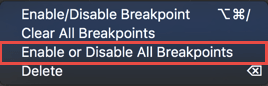 Disabling all the breakpoints from the context menu in the panel