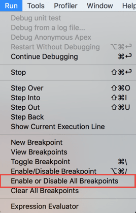 Disabling all the breakpoints from the Main Menu