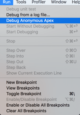Start debugging from Anonymous Apex