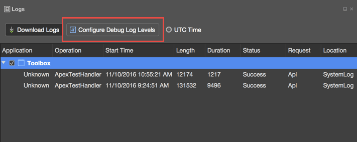 Configure Debug Log Levels from the Logs panel