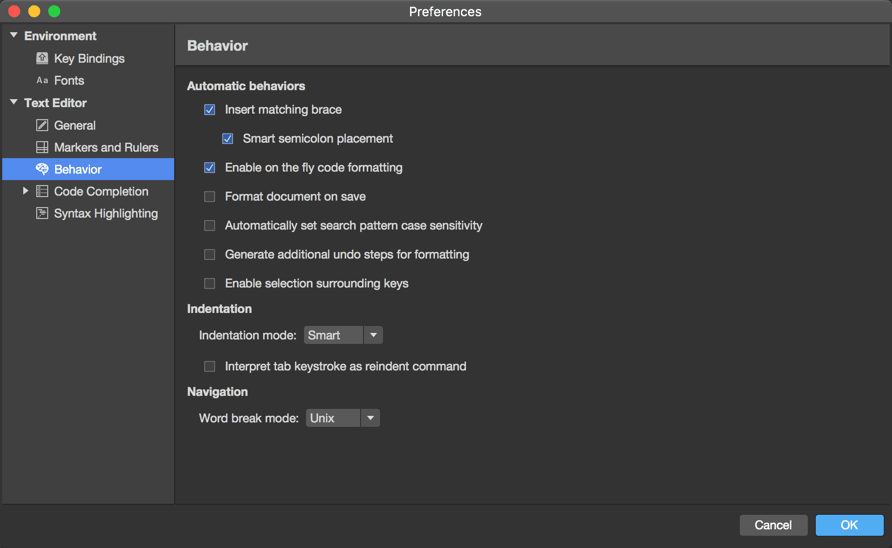 Preferences menu - Text Editor - Behavior
