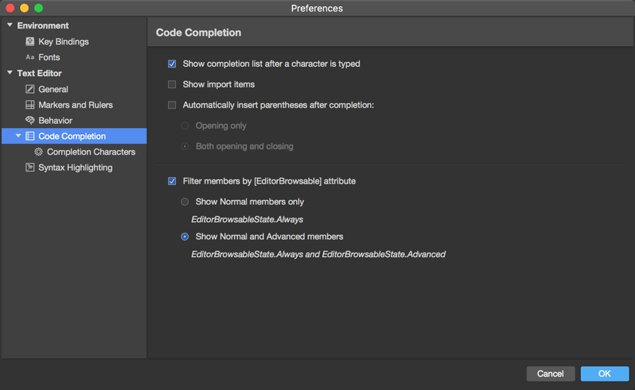 Preferences menu - Text Editor - Code completion