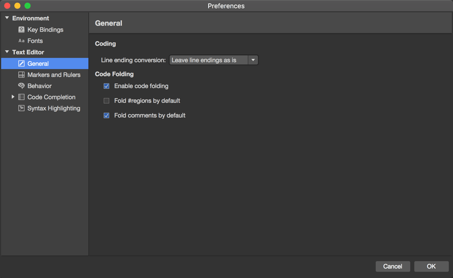 Preferences menu - Text Editor - General