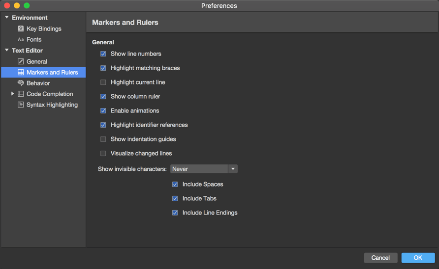 Preferences menu - Text Editor - Markers and Rulers