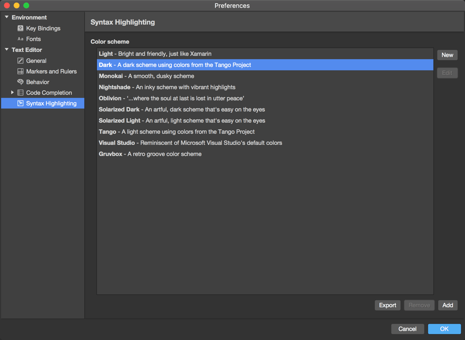 Preferences menu - Text Editor - Syntax Highlighting