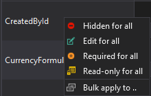 Context menu of the field