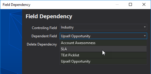 Field Dependency selection