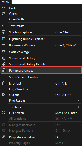 Pending Changes Panel