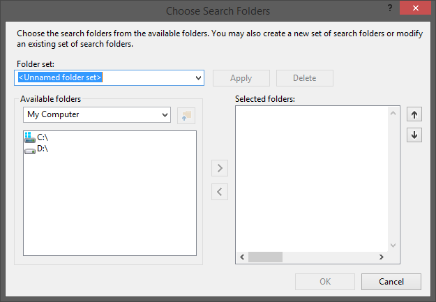Choose search folders