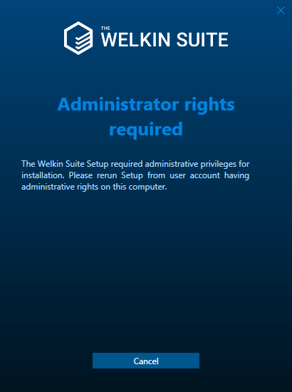 Administrator rights required