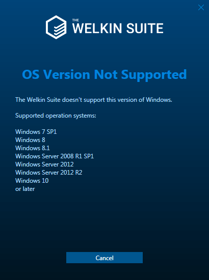 OS version not supported