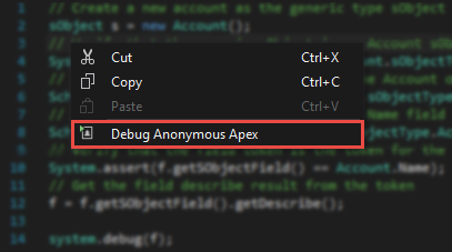 Debug Anonymous Apex from the context menu