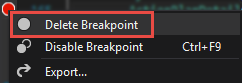 Deleting the breakpoint from the context menu