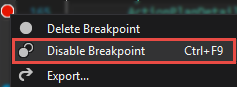 Disabling the breakpoint from the context menu