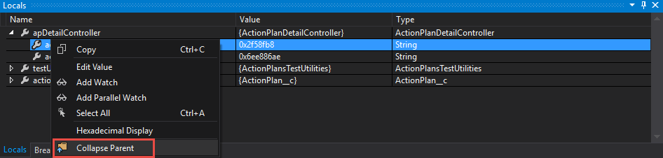 Collapse Parent from the context menu
