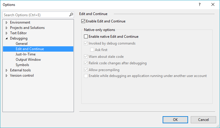 Options menu - Debugging - Edit and Continue