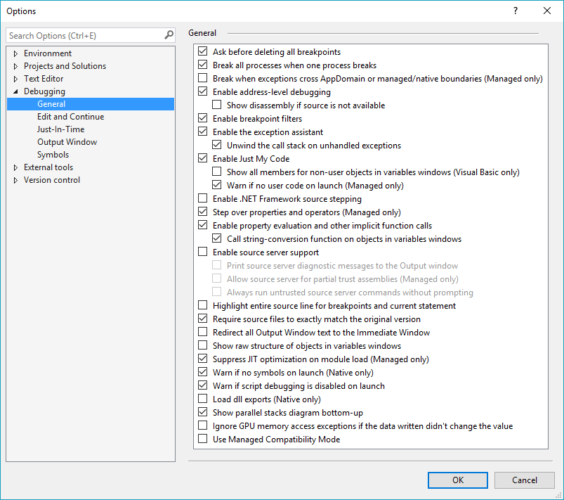 Options menu - Debugging - General