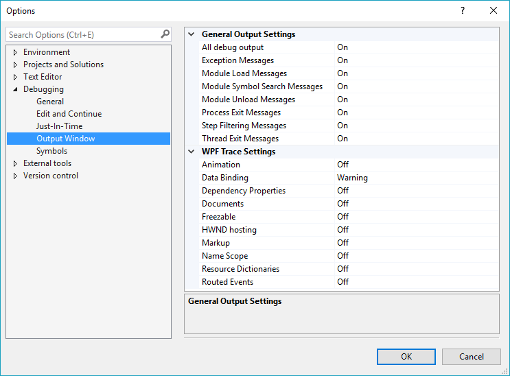 Options menu - Debugging - Output Window