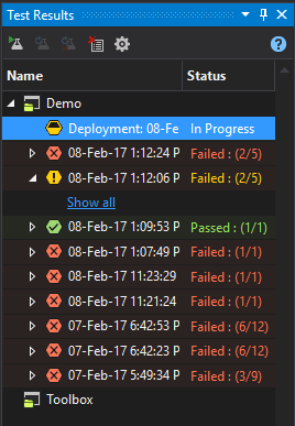 The status of deployment validation test-run