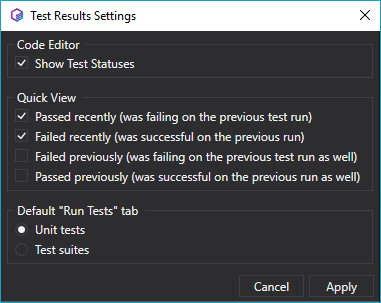 Settings for the Test Result panel