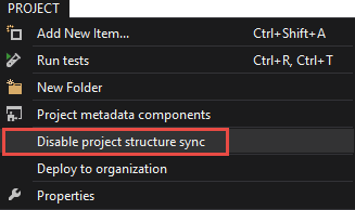 Disable project data sync from the Main Menu