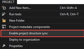 Enable the synchronization of the project's structure from the Main Menu
