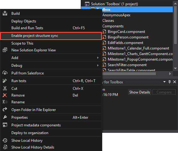 The Sync option in the Solution explorer