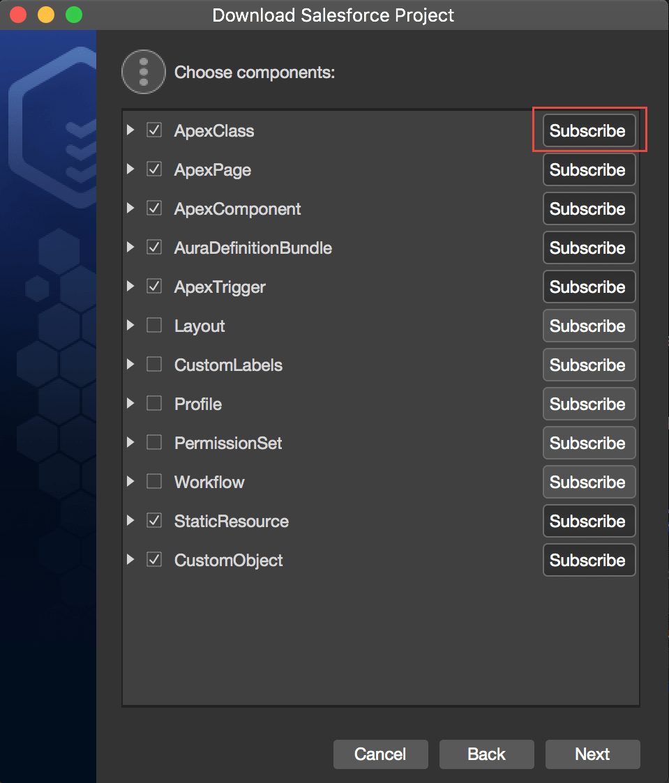 Subscribe to metadata components